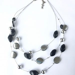 Fixed silver and black three stranded necklace