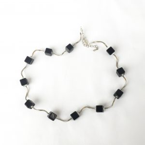 Fixed black cube and silver curved wire necklace