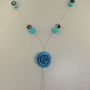 Repaired blue and silver tiger tail necklace