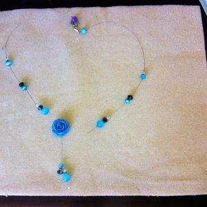 Broken blue rose beaded necklace