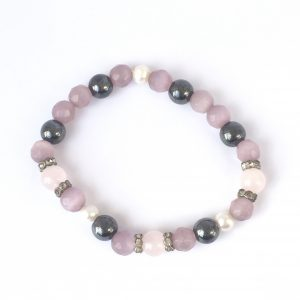 repaired pink and purple glass bead elasticated bracelet with hematite
