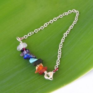 Kids rainbow gemstone bracelet with silver plated chain