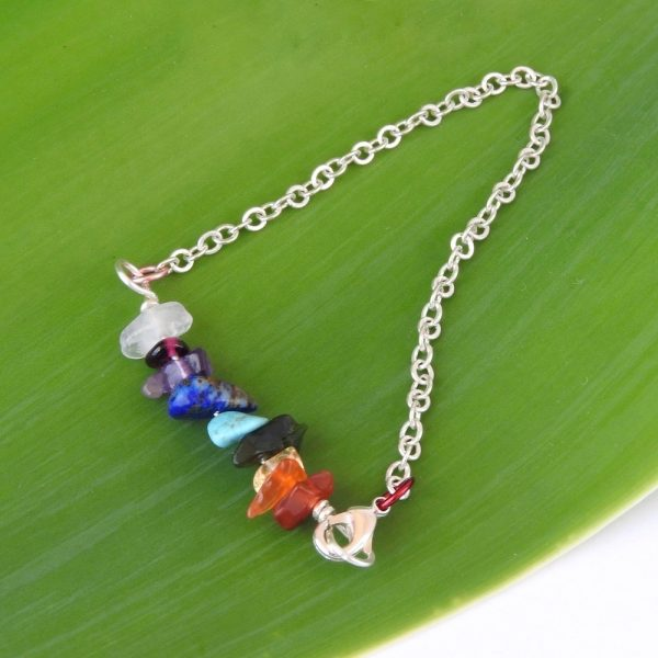Kids rainbow gemstone bracelet with silver plated chain