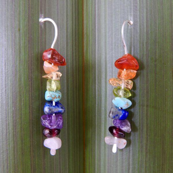 Sterling Silver Rainbow Stone Drop Earrings