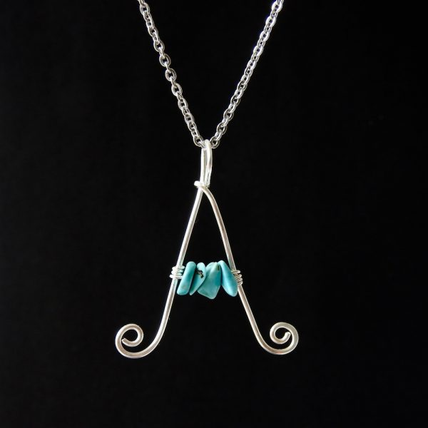 Large customised letter A eco sterling silver necklace with turquoise chips