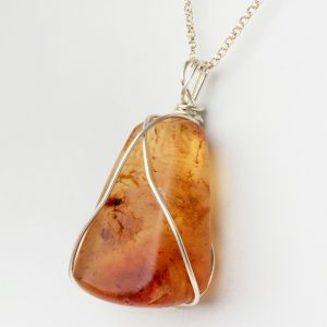 NZ Amber Silver Crossover Necklace OOAK close up