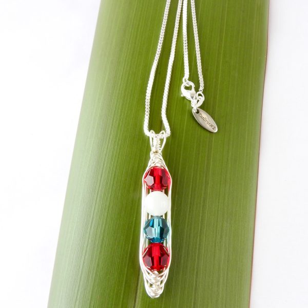 4 gemstone birth jewelry encased in sustainable sterling silver