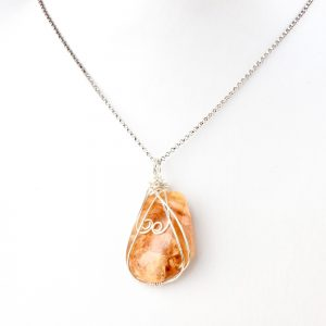 Clover Honey coloured NZ kauri resin silver double koru necklace