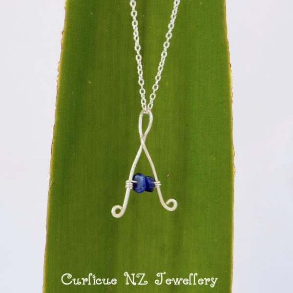 Kids capital letter A necklace with lapis lazuli