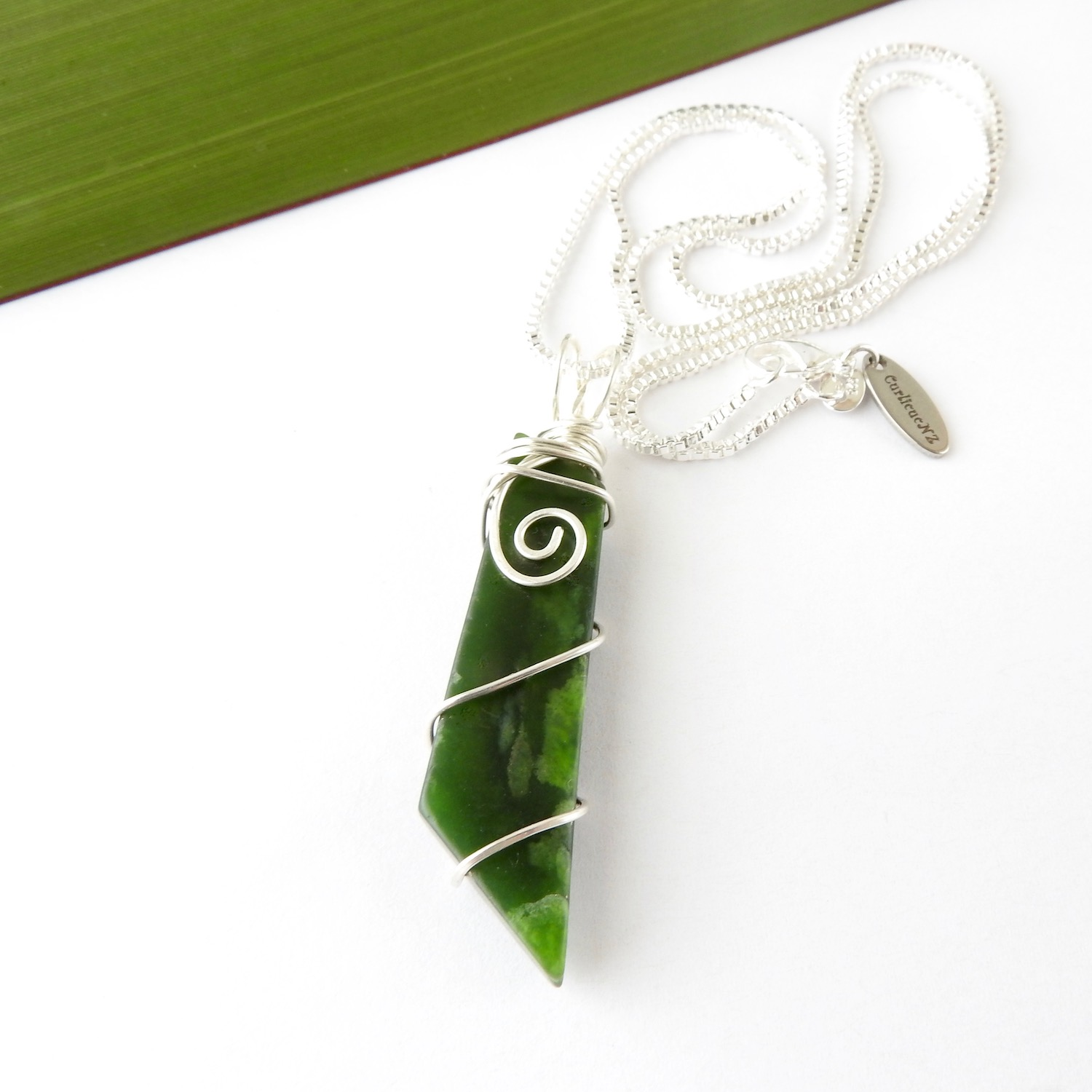 Eco Silver Wire Wrapped NZ Greenstone Necklace Gift