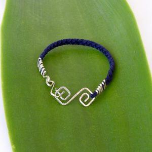 Mens Eco Silver Diamond Double Spiral Bracelet