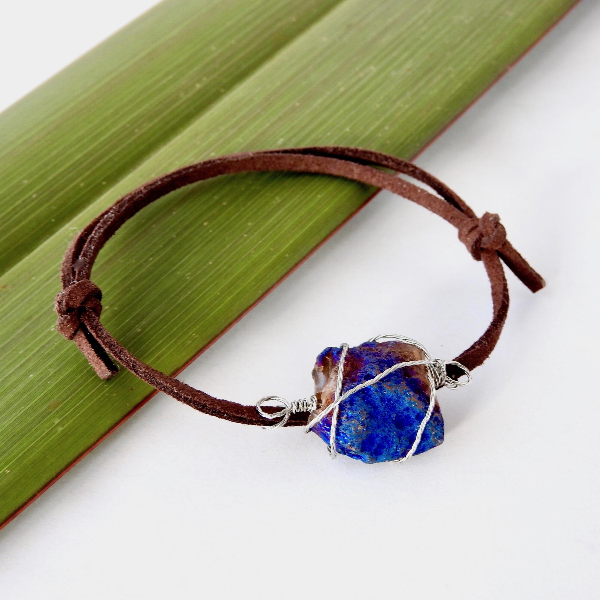 Iridescent Titanium Stone Bracelet for Men on adjustable chocolate brown suede cord