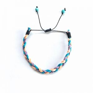 Kids braided cord adjustable bracelet with turquoise stones