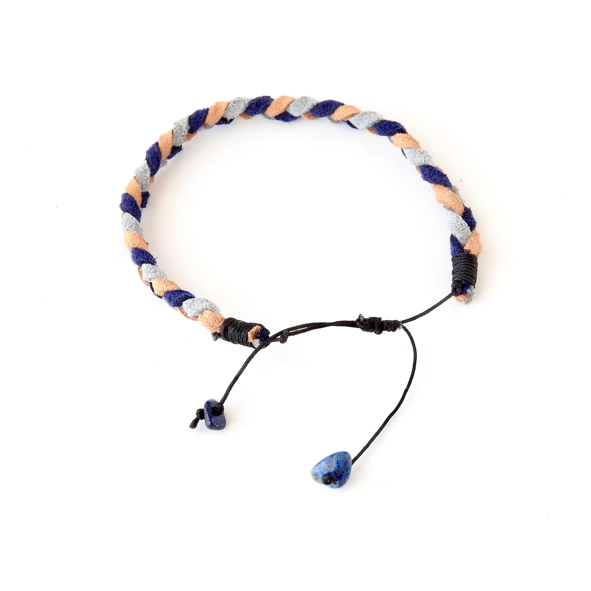 Lapis Lazuli extension cords on adjustable braided suede bracelet for women