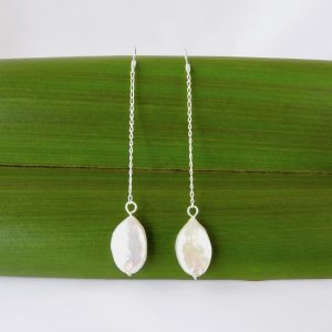 Ivory cultured pearl drop long chain earrings with eco sterling silver