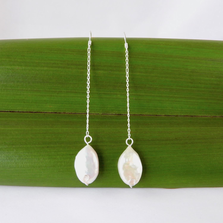 Oval Freshwater Pearl Chain Drop earrings on Flax