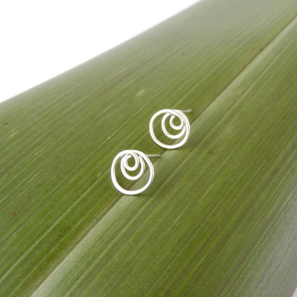 Triple Circle Stud Earrings in recycled Sterling Silver