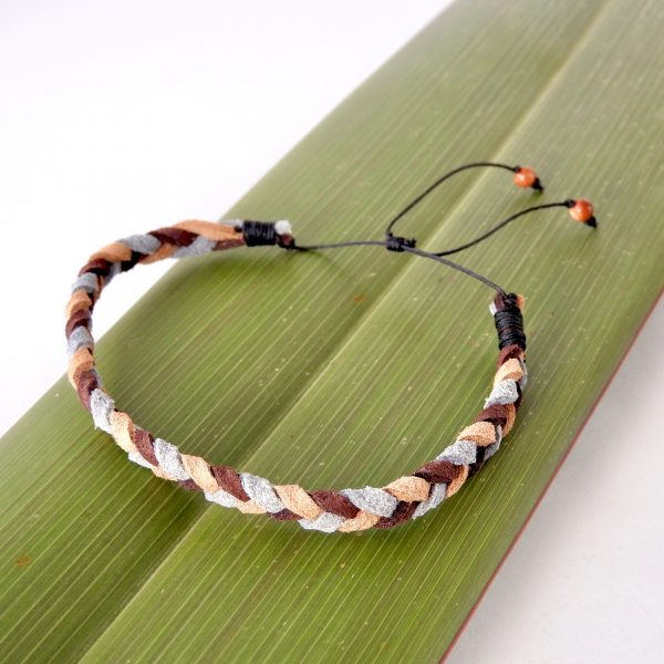 Mens braided suede bracelet in caramel, chocolate and pale grey