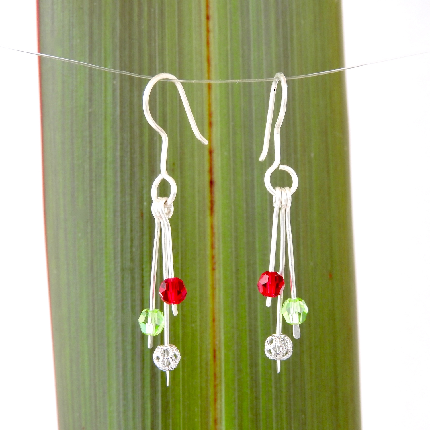 Christmas drop earrings with red and green Swarovski Crystals