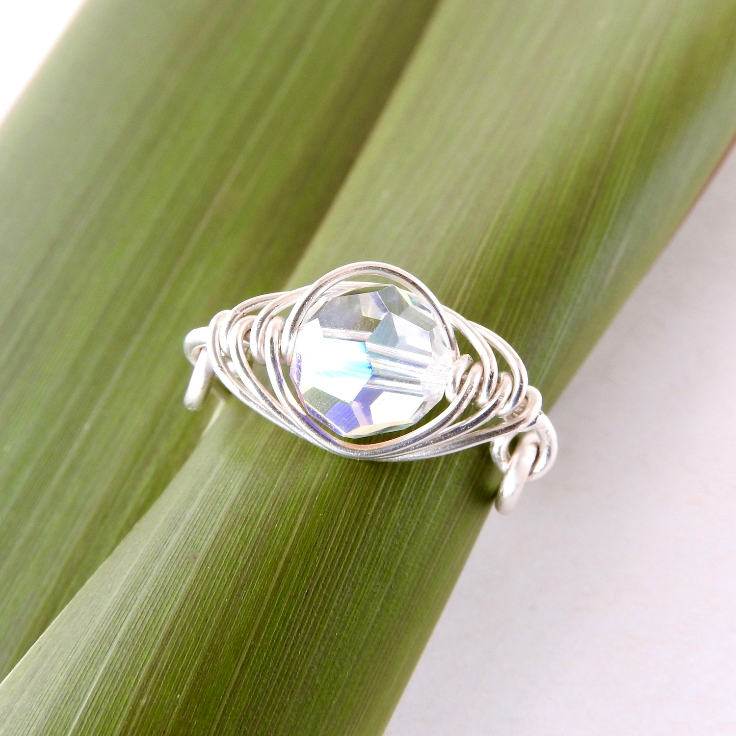 Pod pea 'diamond' ring for April with Clear AB Swarovski Crystal