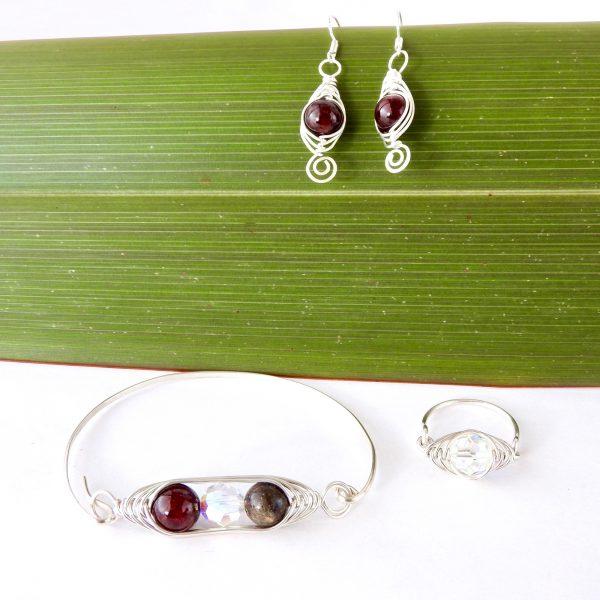 Handmade Birthstone Earrings, Bangle and Ring in Herringbone weave style