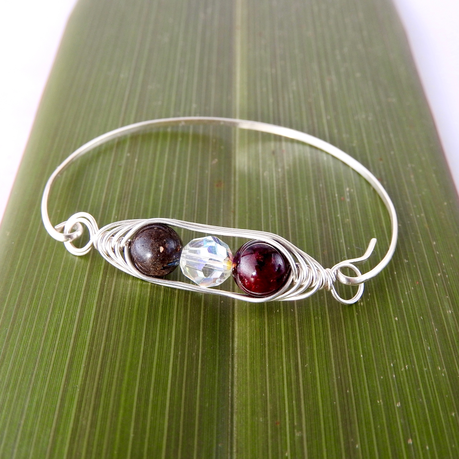 father, mother, child genuine birthstone handmade sustainable sterling silver bangle