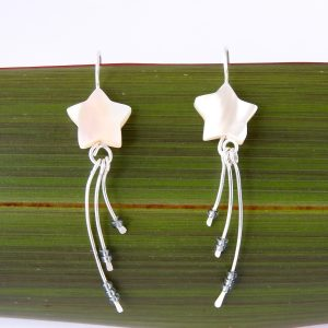 Ivory Mother of Pearl Star Earrings in Eco Argentium Silver