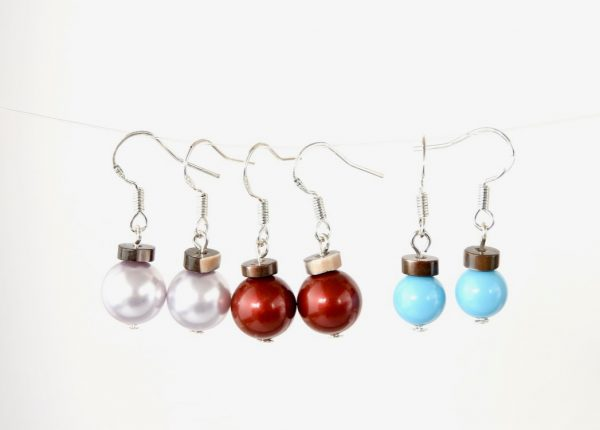 Different coloured Swarovski Pearl Christmas Bauble Earrings