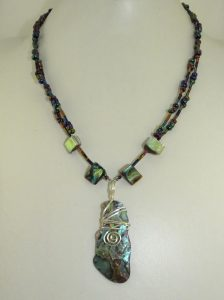 Early work Paua Shell necklace in Viking design