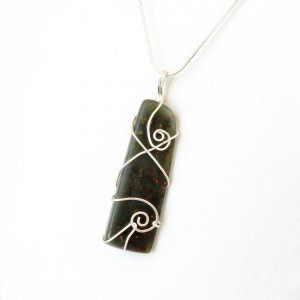 NZ Greenstone wedge necklace in Eco Sterling Silver