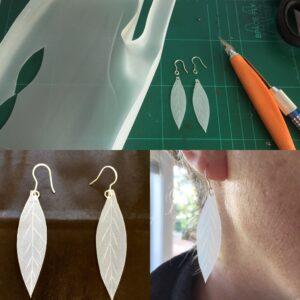 New leaf earring prototypes made from milk bottles