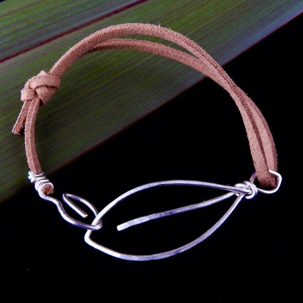 Eco Silver 2 Leaves Mens Bracelet with soft brown suede cord