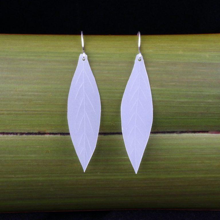 Repurposed milk bottle Leaf earrings with eco silver hooks