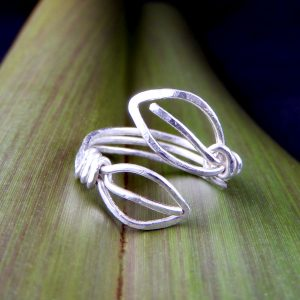 2 Leaves adjustable ring handmade in recycled Sterling Silver