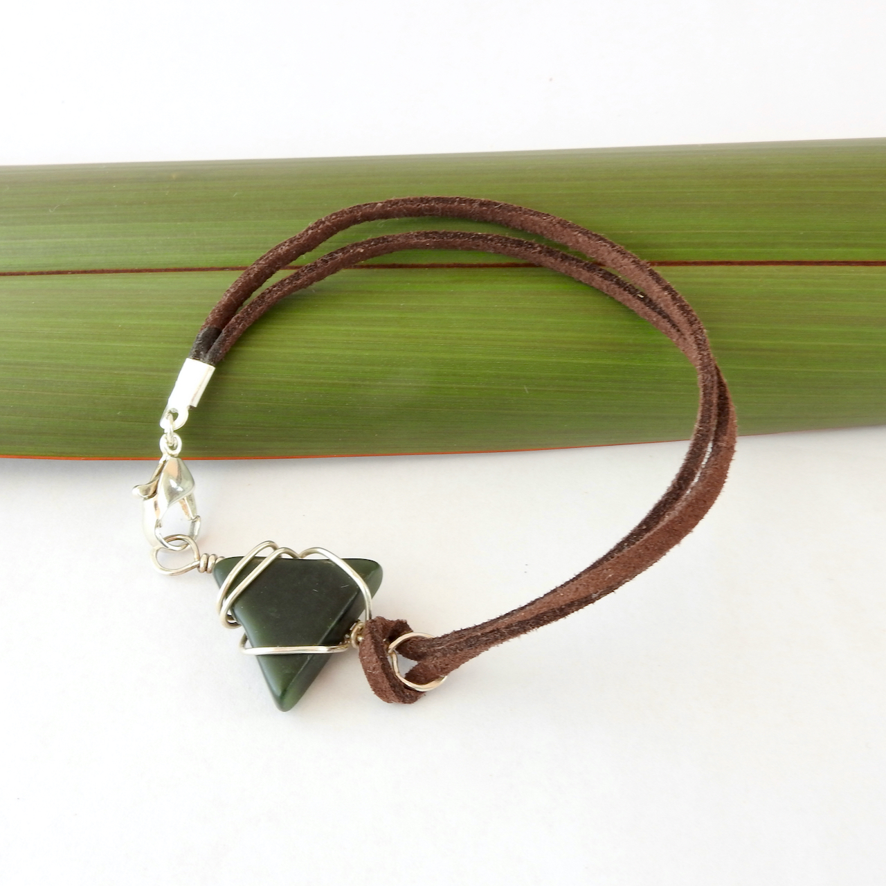 Triangle Eco Silver Unisex bracelet with brown suede cord_Top