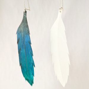 Painted and natural repurposed milk bottle Feather earrings