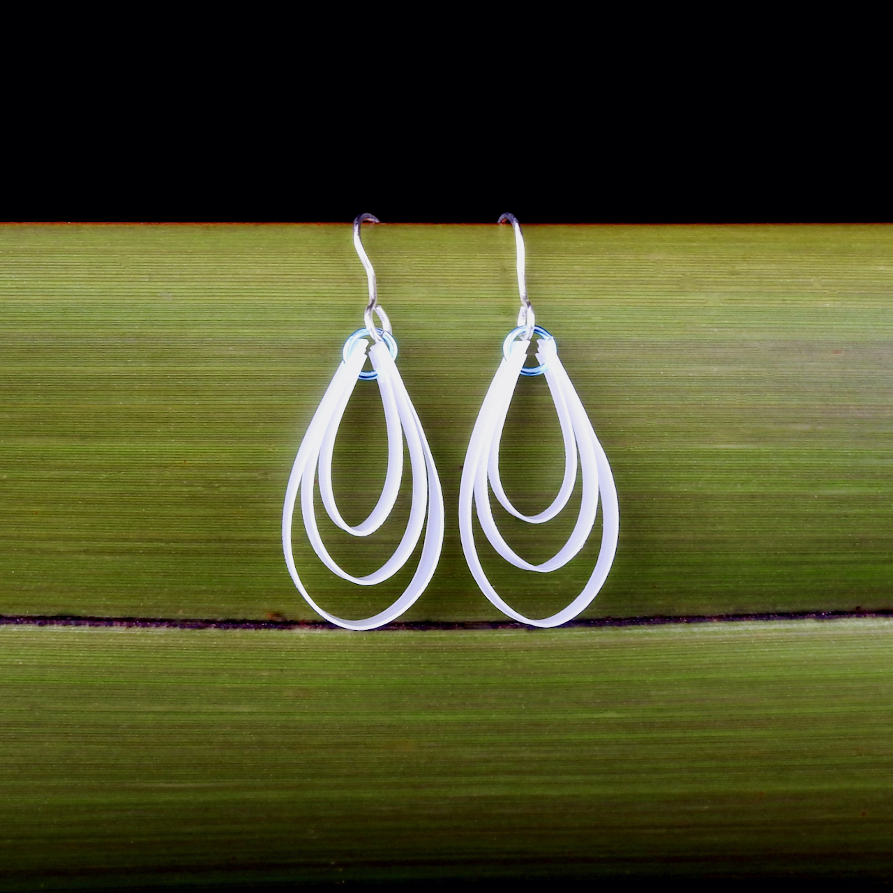 Water Droplets made from recycled Sterling Silver and repurposed plastic milk bottles