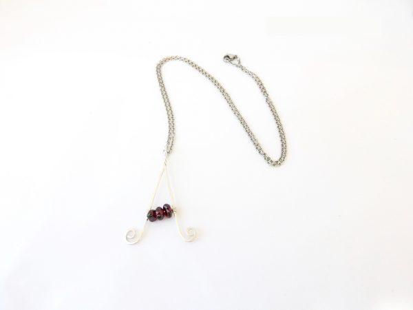 Letter A Necklace in eco Sterling Silver with garnets and Sterling Silver chain