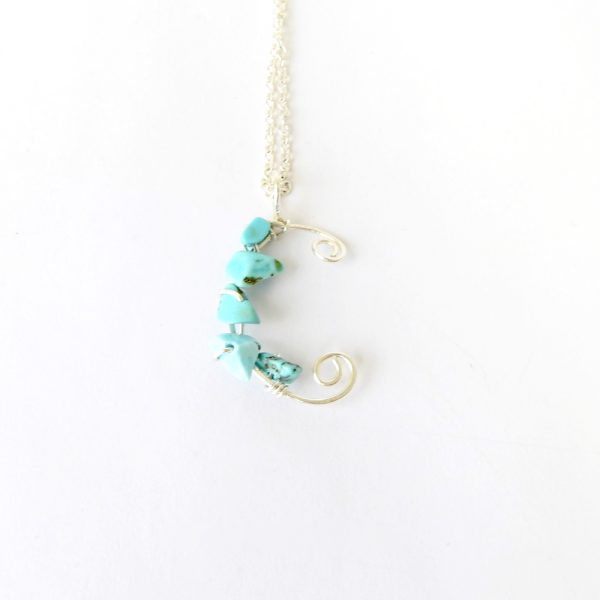 Kids sized letter C necklace with turquoise stones