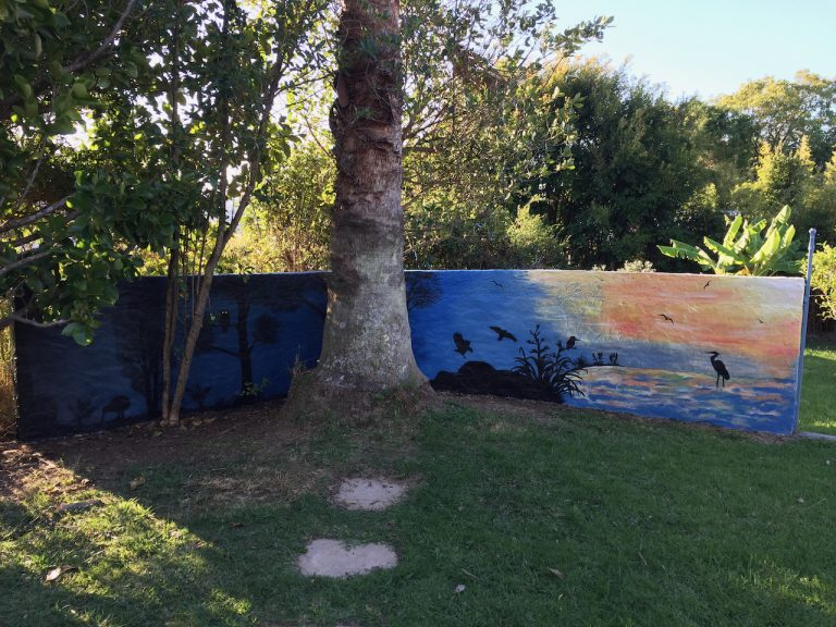 Left side garden wall mural