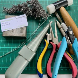 Tools and materials required to make the Romantic Rose Studs