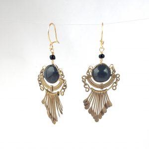 Repaired black and nickel chandelier earrings