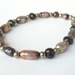 Close up of mixed pearl beaded bracelet