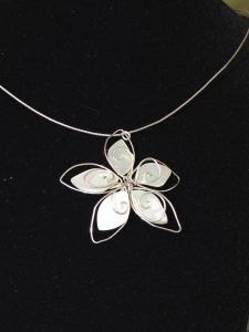 Closeup of repaired Wire Flower Necklace