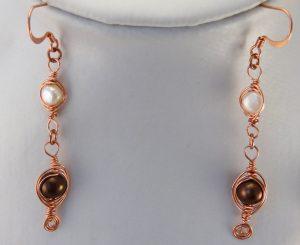 Copper herringbone weave earrings