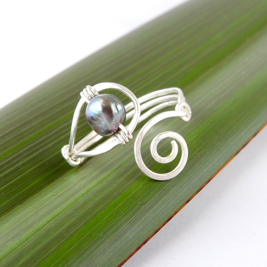 Freshwater Pearl and Sterling Silver Koru Ring