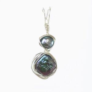 Black Diamond Pearl Pendant with round black pearl