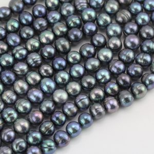 Strands of peacock round freshwater pearls