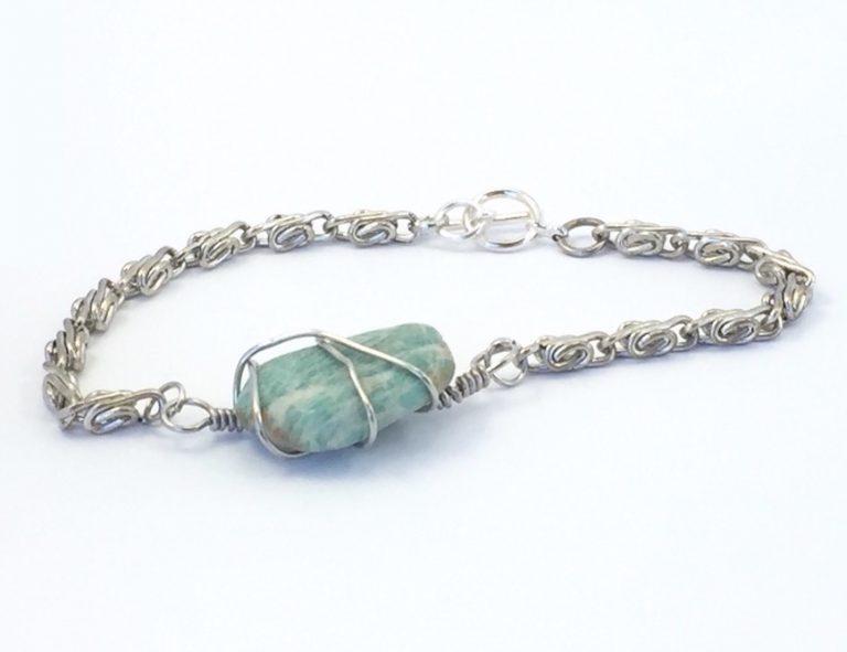 Mens Amazonite Chunky Silver Bracelet