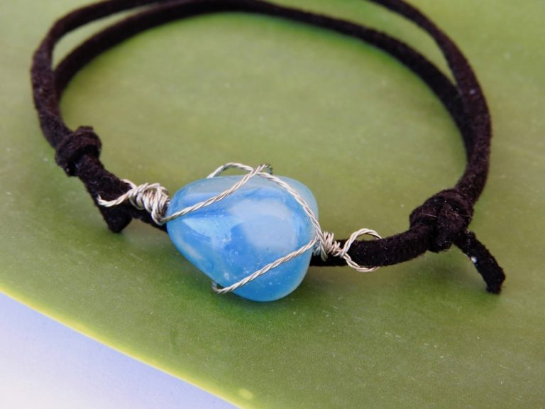Blue Agate Mens Adjustable Bracelet